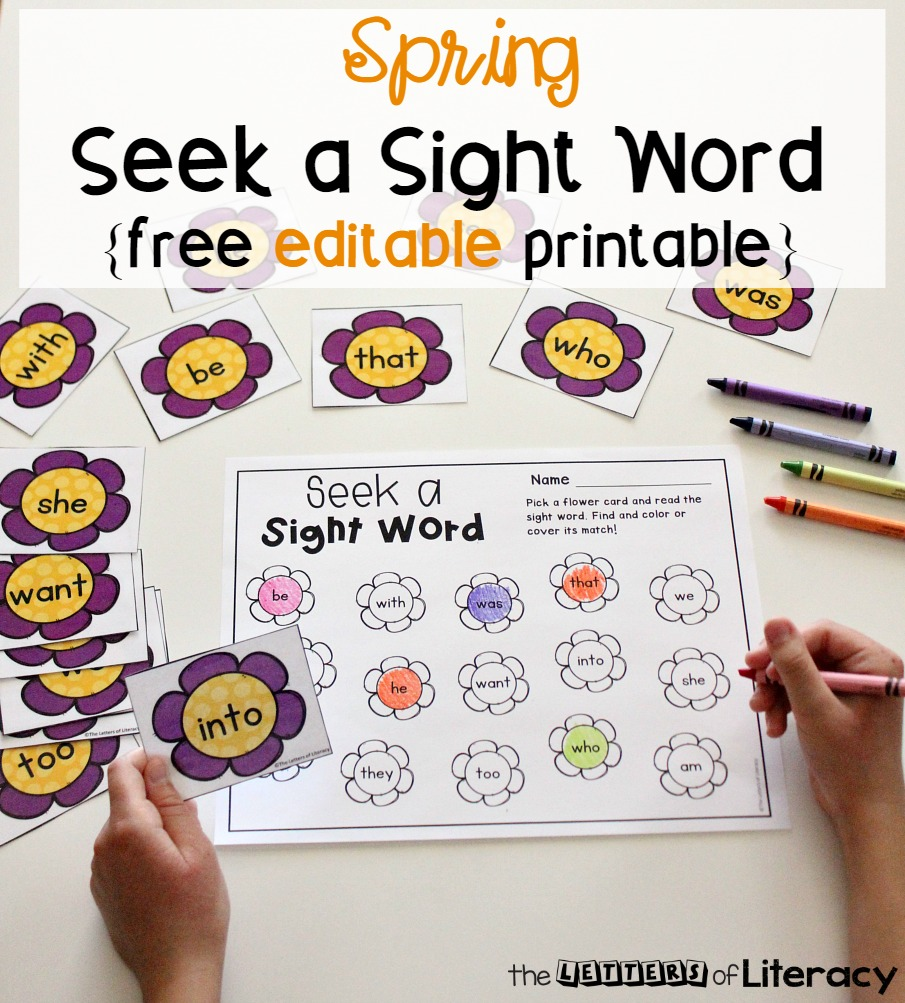 Practice sight words in literacy centers this spring with this EDITABLE spring sight word game! Type in any 15 words and it auto-populates! Perfect for Kindergarten and 1st grade literacy centers.