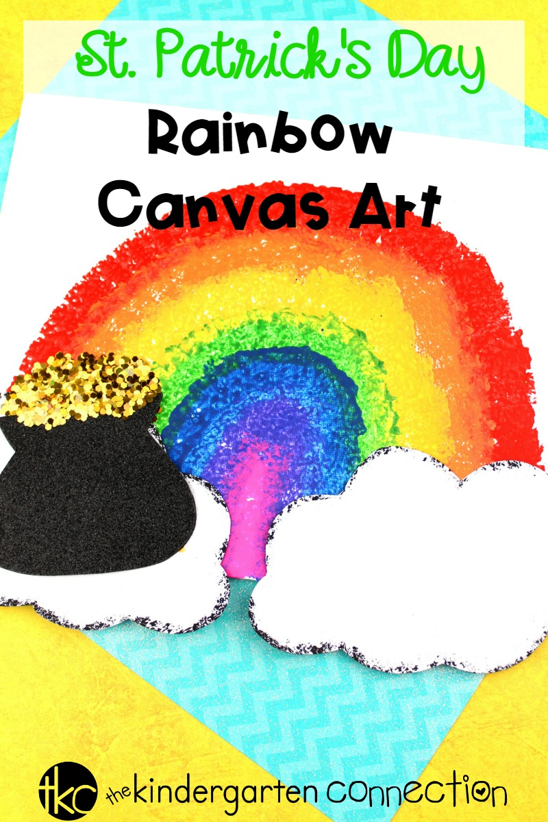 Create a beautiful art masterpiece with this Rainbow Canvas St. Patrick's Day Art Project! Such a fun activity for a St. Patrick's Day class party!