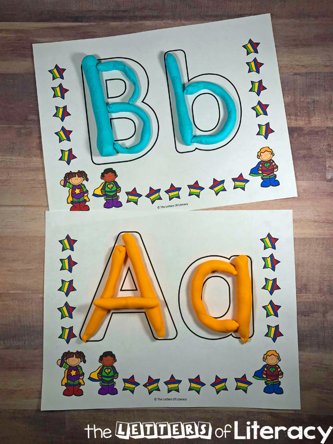 Have fun learning the alphabet with these superhero play dough mats any time of the year! These are perfect for Preschool, Pre-K and Kindergarten classroom literacy centers.