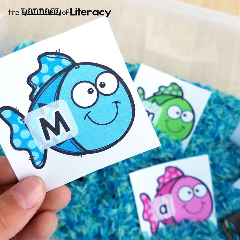 fishing for letters alphabet sensory bin