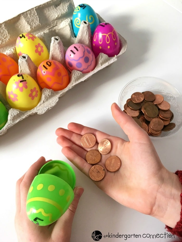 This Easter egg counting activity is a perfect Easter math center for Pre-K and Kindergarten kids! Make your spring math centers more exciting and hands-on!