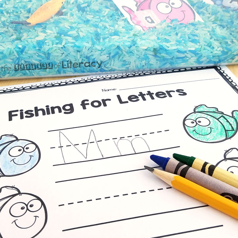 fishing for letters alphabet sensory bin and recording sheet