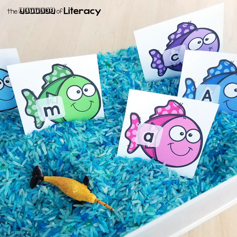 fishing for letters alphabet sensory bin