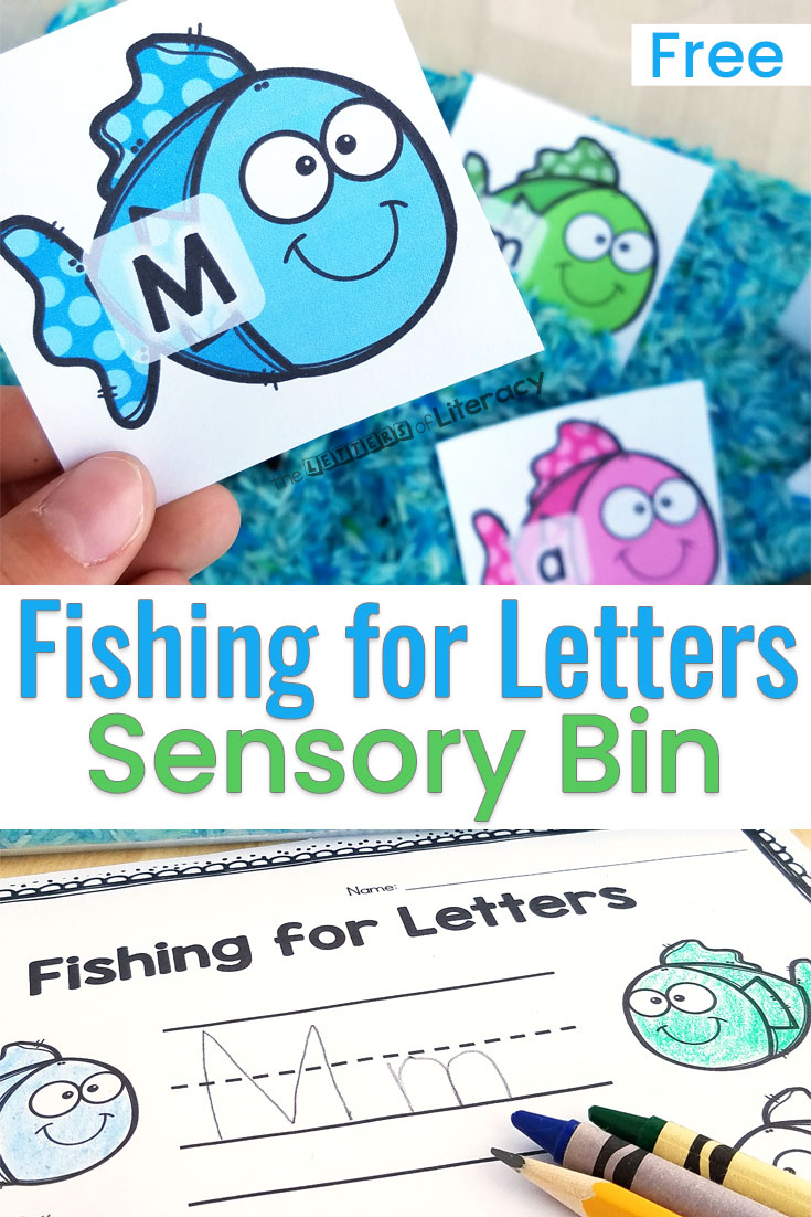This ocean-themed alphabet sensory bin provides practice matching uppercase and lowercase letters, and even sight words! It's perfect for an ocean theme literacy center in Pre-K and Kindergarten!