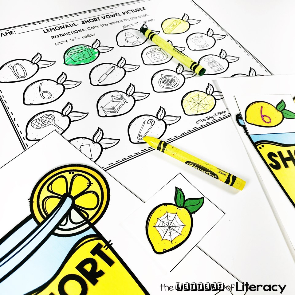 lemonade sensory bin with FREE printables for short vowels