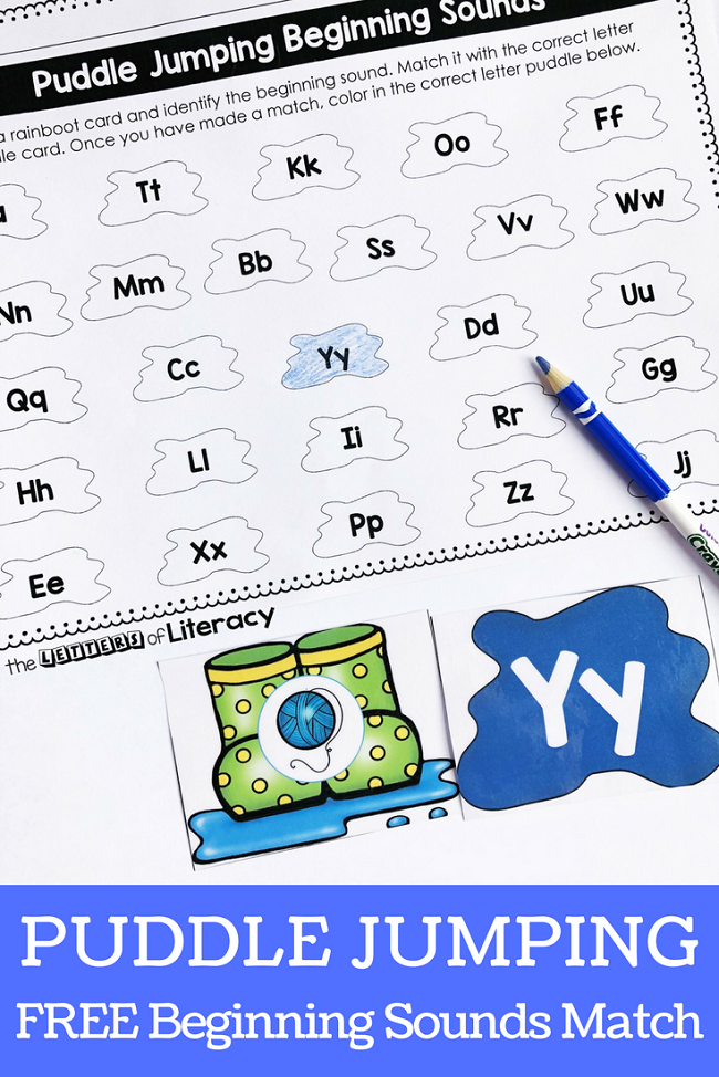 Have so much fun working on beginning sounds this spring with this Puddle Jumping Beginning Sounds activity! It's a great literacy center for Pre-K, Kindergarten, and even 1st grade!