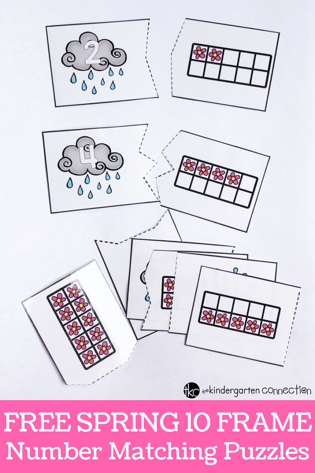 Work on counting, number recognition, and one to one correspondence with these fun, spring-themed ten frame puzzles and recording sheet!