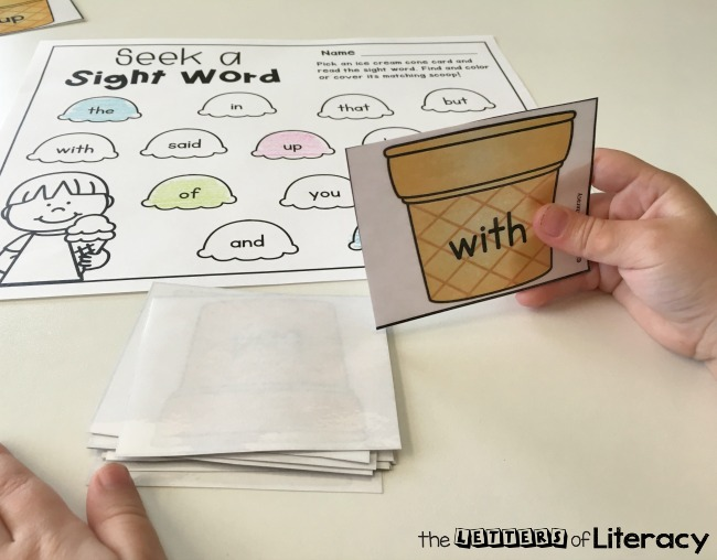Editable Ice Cream Cone Sight Word Game, free printable for literacy center, seek a sight word