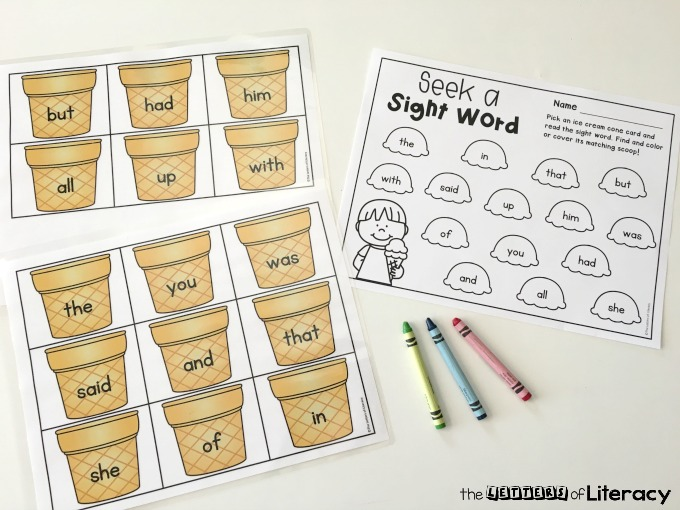 Editable Ice Cream Cone Sight Word Game, free printable
