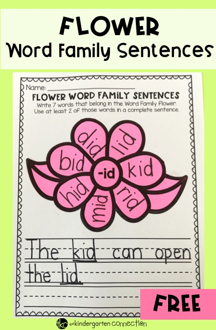 This word family flowers activity is a fun way for Kindergarten and 1st grade to practice word families, rhyming, and sentence writing all in one!