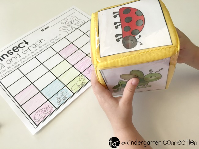 Insect Roll and Graph FREE Math Printable, for center activity, use with pocket dice