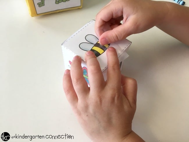 Insect Roll and Graph Math Activity free printables for math center, assemble printable dice