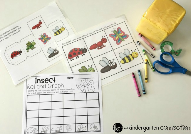 Insect Roll and Graph Math Activity free printables for math center