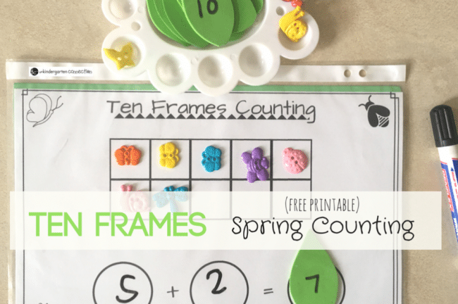 Ten Frames Spring Counting Math Activity