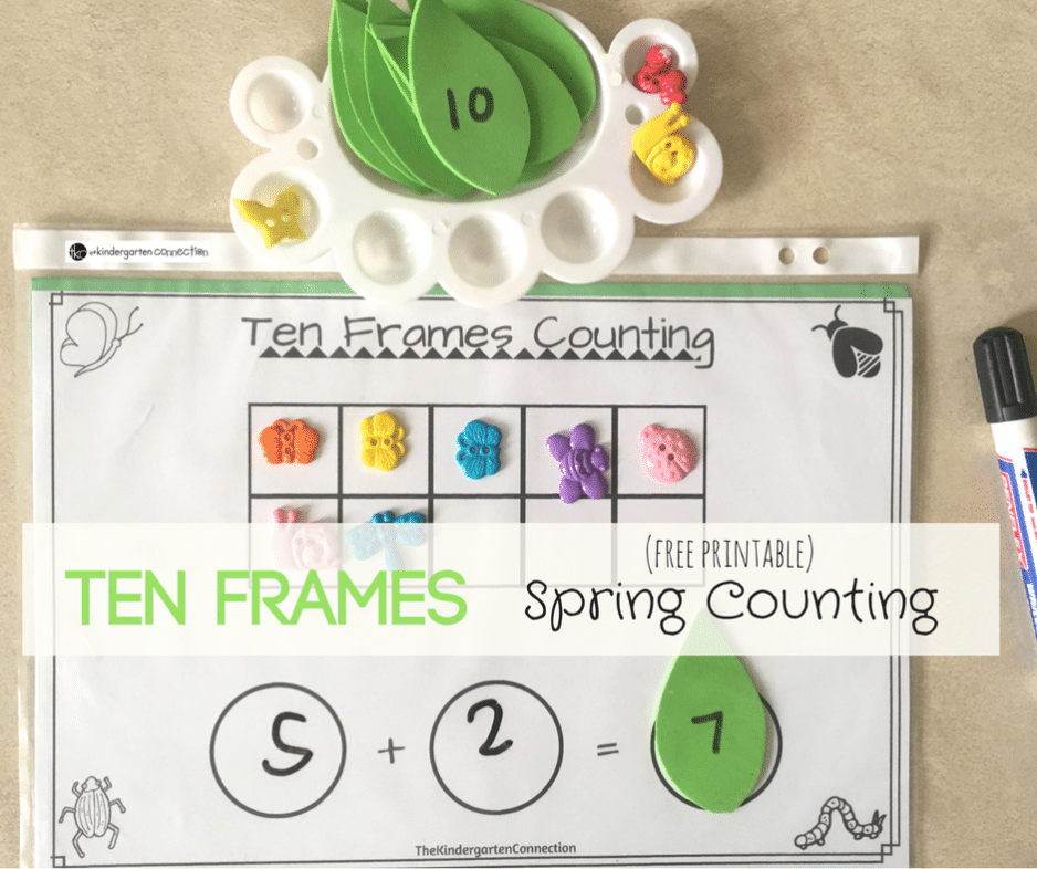 Ten Frames Spring Counting Math Activity, free printable perfect for kindergarten and 1st grade! Create addition math equations with fun springtime maniuplatives.