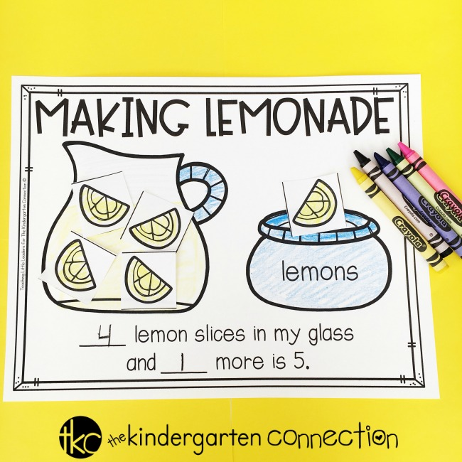 Making lemonade - decomposing numbers and parts of 5 activity
