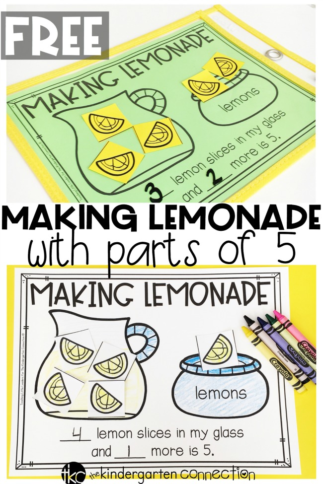 Have fun decomposing numbers and working on parts of 5 in your math centers with this free printable lemonade activity! Perfect for Kindergarten math!