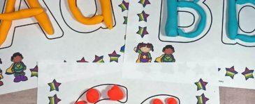 Super Hero Alphabet Play Dough Mats