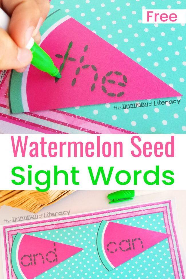 Grab this FREE Watermelon Seed Sight Word Tracing Activity and place it in your literacy center for some sight word fun! Children LOVE watermelon and they're going to really enjoy practicing sight words in a fun new way!