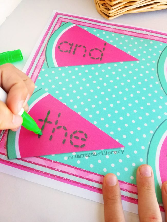 Watermelon Seed Sight Word Tracing Activity