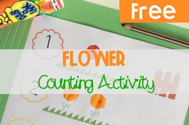 Flower Counting Activity, FREE printable for one-to-one correspondence for pre-K and kindergarten