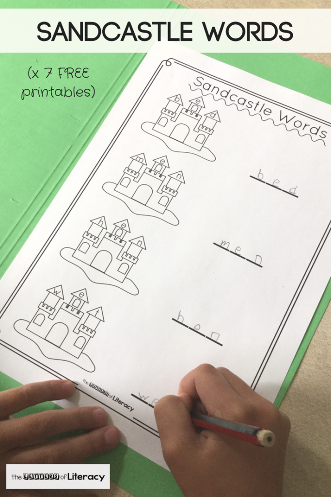 Grab these FREE Sandcastle CVC Words Printable Activities for Kindergarten! This printable pack comes with 7 CVC Words printables for building words!