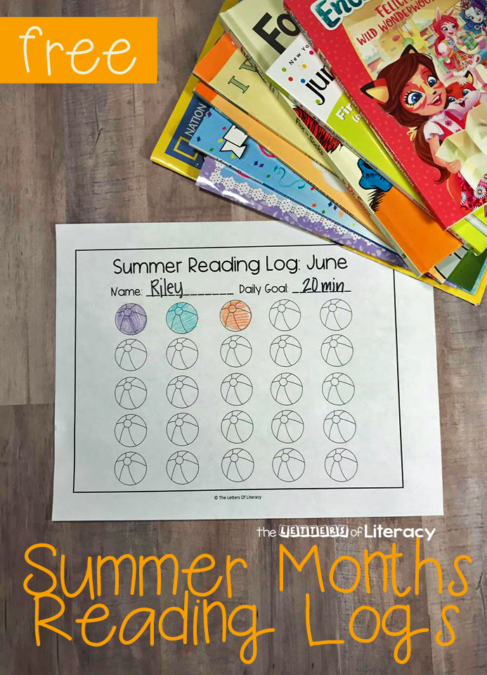 Encourage Kids To Read This Summer With These Fun Summer Months Reading Logs. Includes May through September, each with it's own theme.