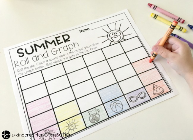 Grab this FREE Roll and Graph Summer Math Activity for early graphing skills! Place in your math center or small group for an instant graphing activity!