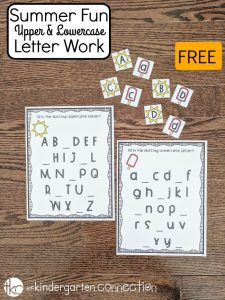 Grab this FREE Summer Alphabet Printables Pack for Pre-K and Kindergarten! It's complete with ABC matching game and ABC fill in the blank activities!