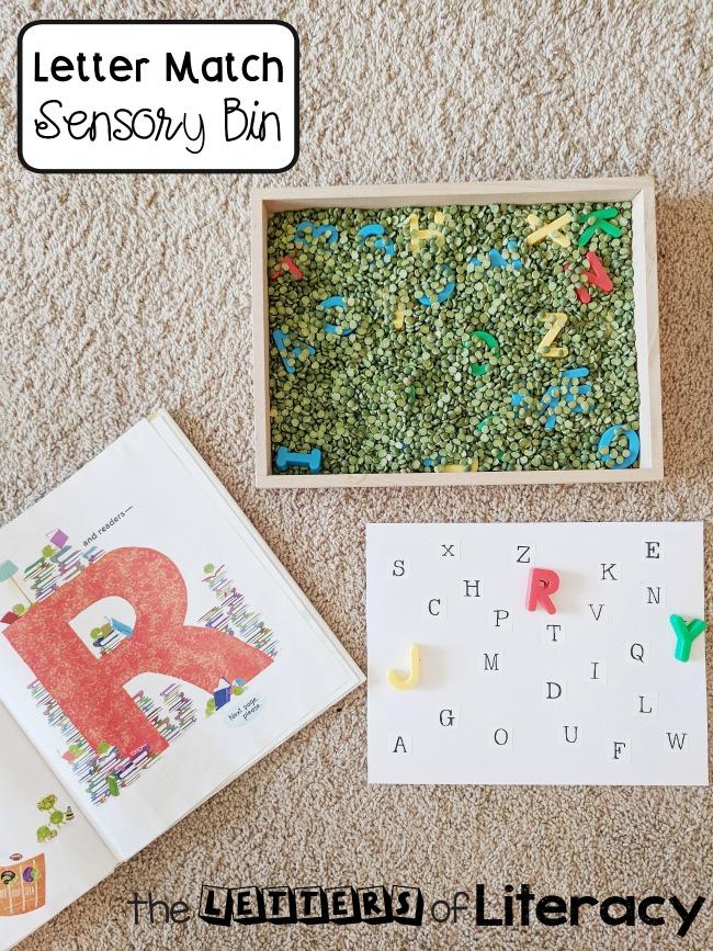 FREE Letter Match Sensory Bin Printables for pre-K and Kindergarten!