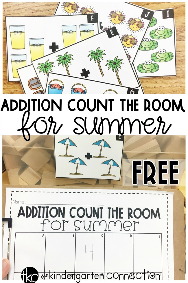 Add this Summer Count the Room addition center to your Kindergarten math centers for instant fun with counting and beginning addition skills!