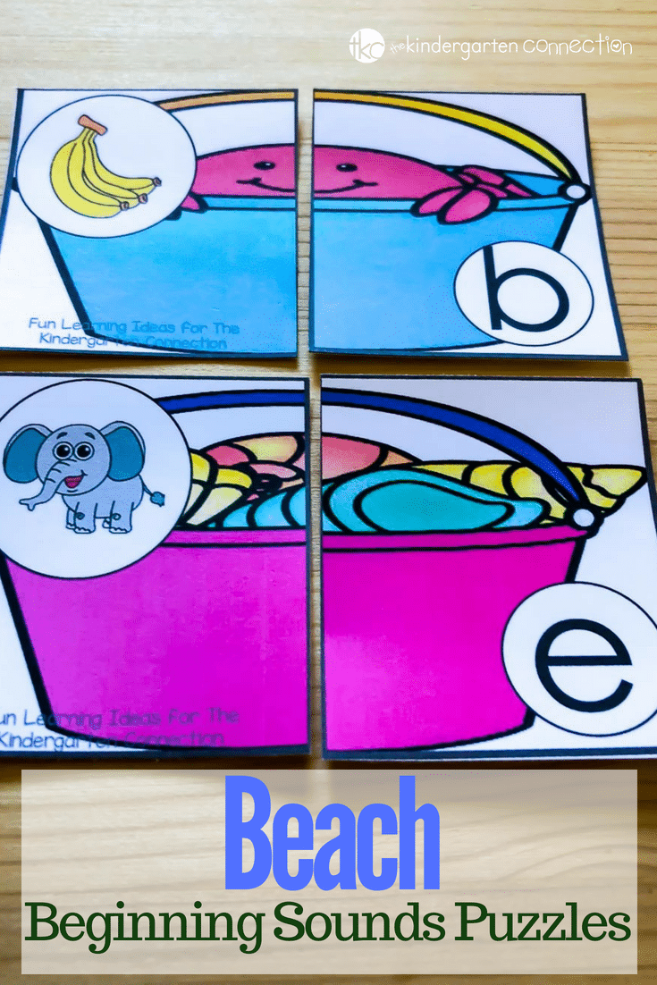 Grab these FREE Beach Beginning Sound Puzzles! Perfect for your summer-themed literacy center activity. Preschoolers and Kindergarteners will love it!