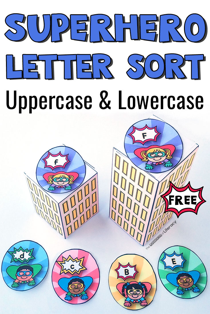 Print this free printable superhero letter sort for your Pre-K or Kindergarten Literacy Centers! Sort upper and lowercase letters for hands-on learning!