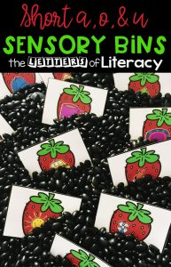 Strawberry Short Vowel Sensory Bin and FREE Printables for Kindergarten
