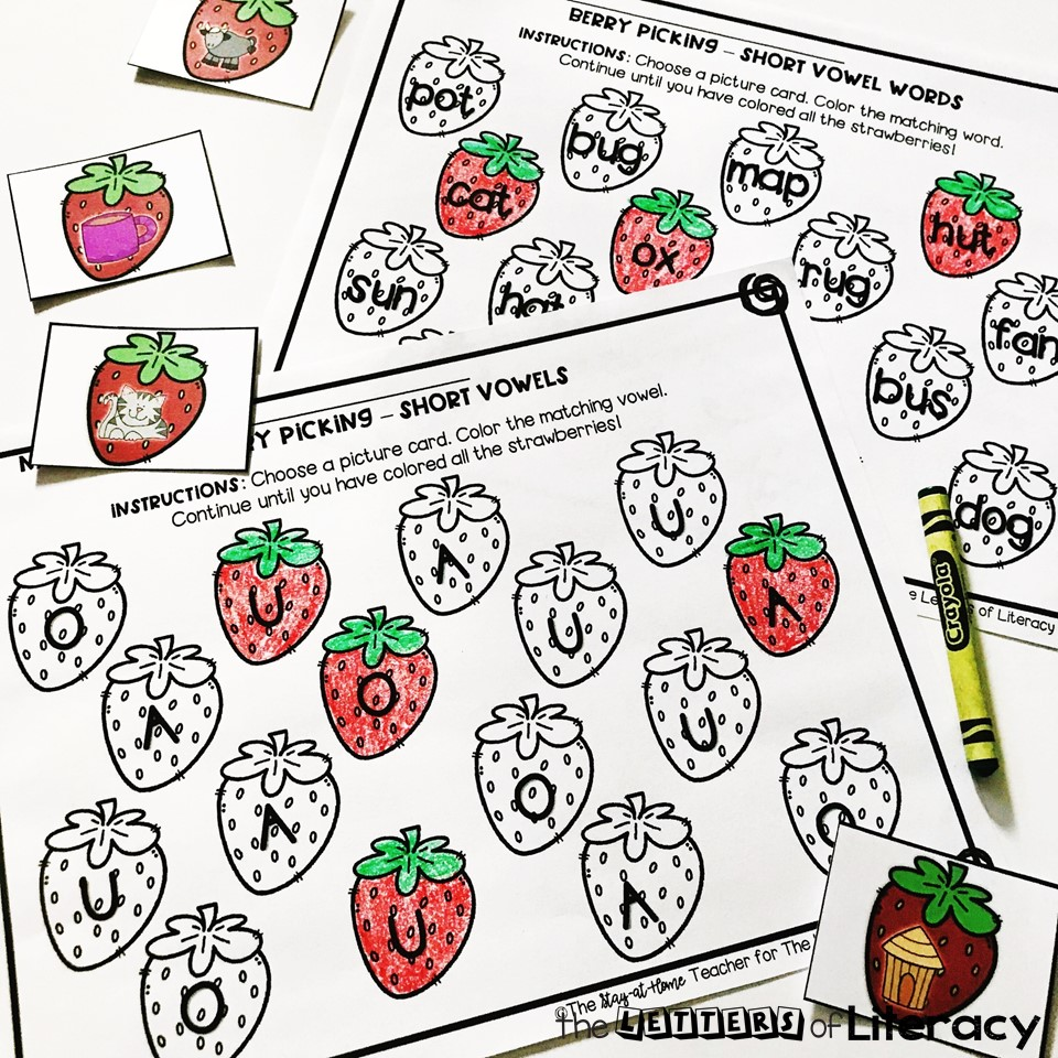 Berry Short Vowel Sensory Bin and Printables for summer fun! Use these FREE Printables with Kindergarten!