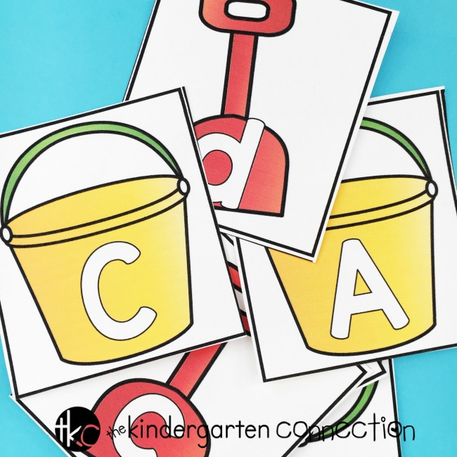 FREE Beach Bucket Uppercase and Lowercase Letter Activities! These printable alphabet cards can be used in a variety of ways for some beach themed summer fun! Perfect for Pre-K and Kindergarten!