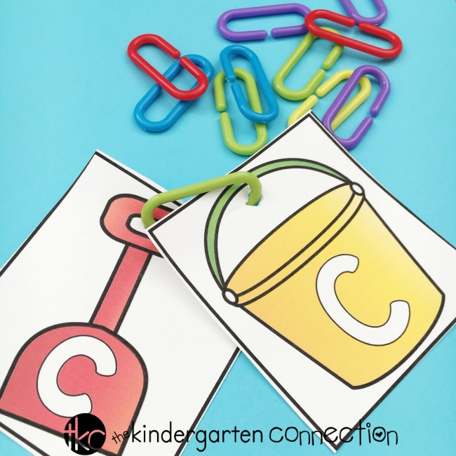 Punch a hole into the letter cards and then have students find a letter match to link together.