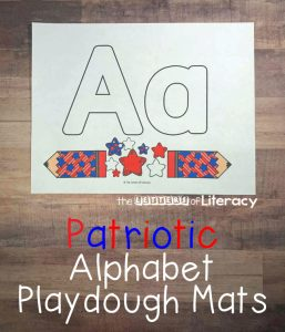 FREE Alphabet Play Dough Mats Printable for 4th of July, summer, pre-k and kindergarten