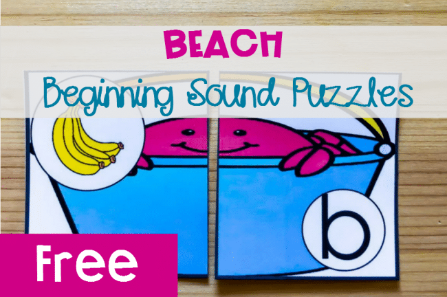 Beach Beginning Sound Puzzles, free printable for kindergarten