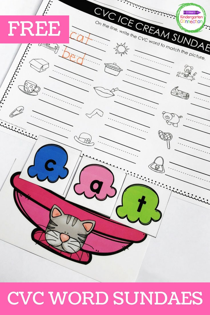 Grab this Free CVC Words Ice Cream Sundae activity and use it in your Kindergarten small groups or literacy centers!