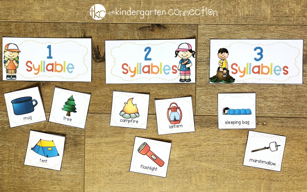 FREE Camping Syllable Sort Activity Printables! Use them in your homeschool, traditional classroom, in small groups or centers. Perfect for kindergarten or 1st grade!