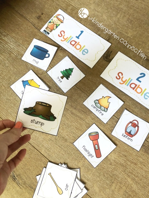 Premise Indicator Words: FREE Camping Syllable Sort Activity For Kindergarten