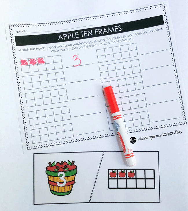 Apple Ten Frame Puzzles for Kindergarten! These self-correcting puzzles are great for centers, morning work or small groups.