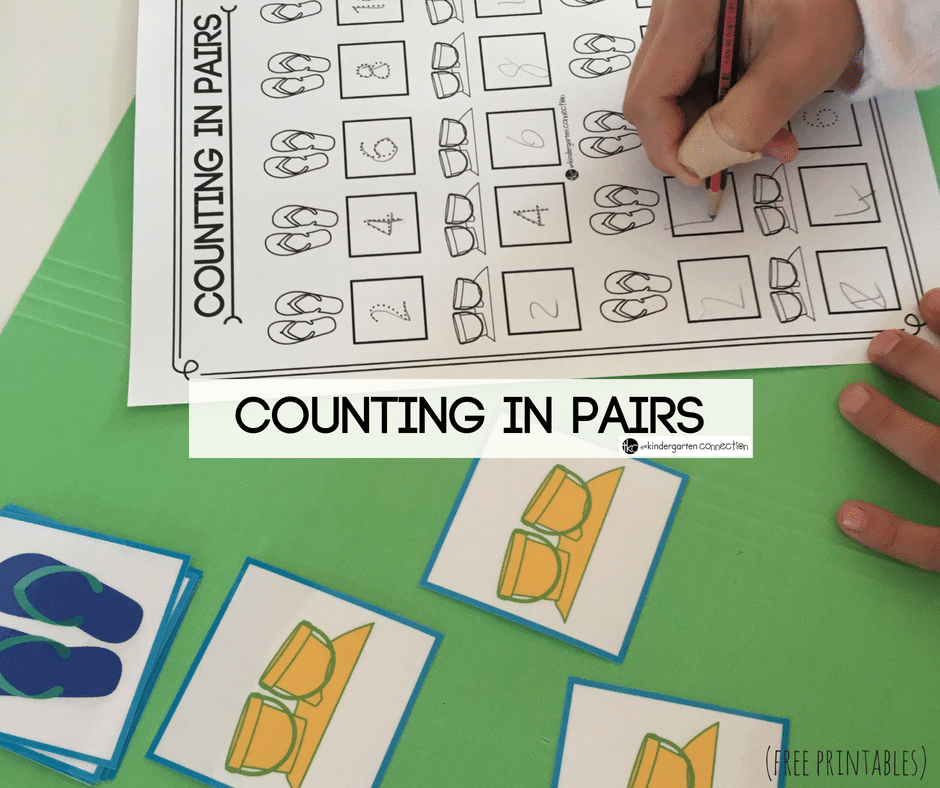 Summer Counting By 2's Activity, FREE Printables for skip counting and counting in pairs. Makes a great math center for kindergarten!