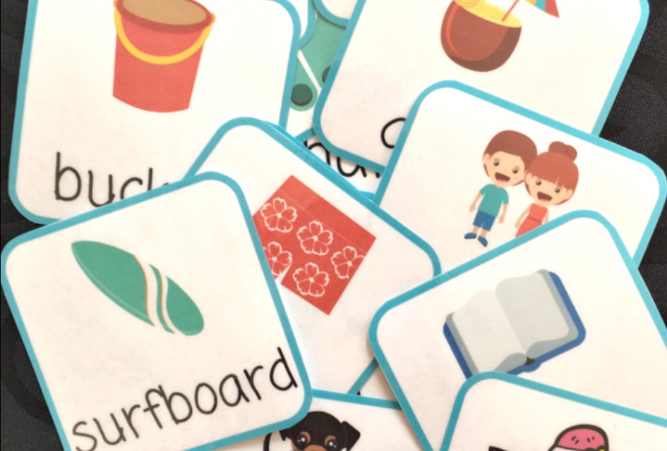FREE Printable Beach Vocabulary Memory Game Cards