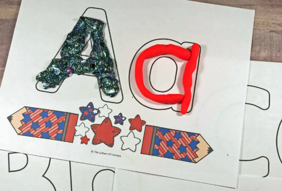 Patriotic Alphabet Play Dough Mats