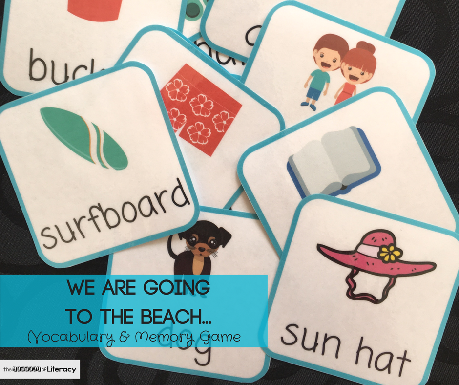 FREE Printable Beach Vocabulary Memory Game Cards, summer beach trip or summer theme in your Pre-K or Kindergarten Classroom!