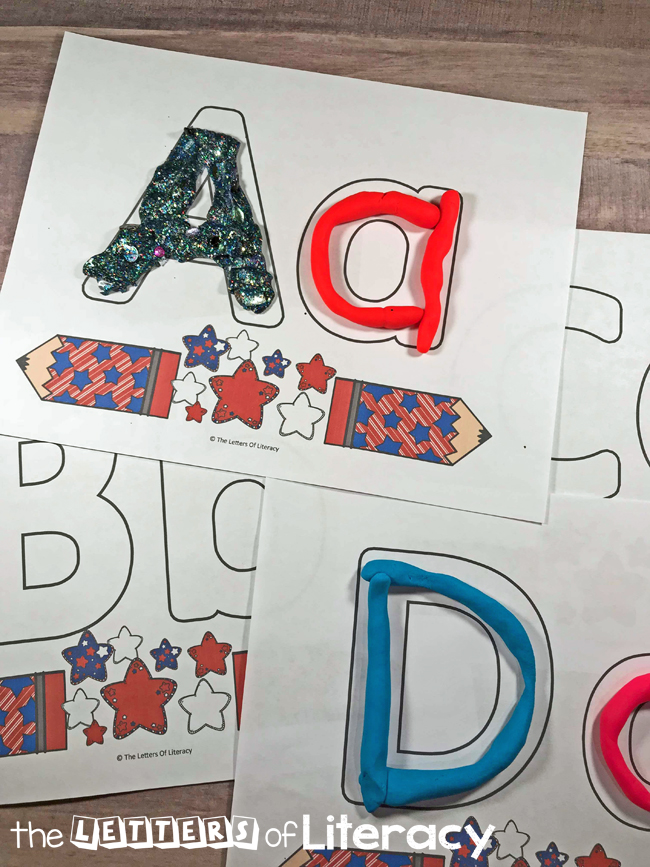 Free Printable Patriotic Alphabet Play Dough Mats, for summer, 4th of July, pre-K and kindergarten!