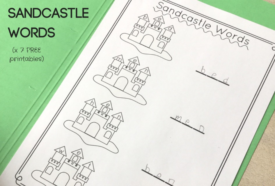 Sandcastle CVC Words FREE Printable Activity for Kindergarten