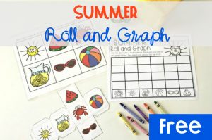 Summer Roll and Graph, FREE Printable math activity for kindergarten